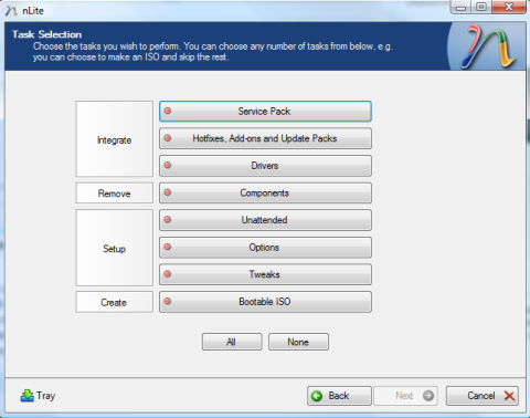 Task Selection Dialog Box